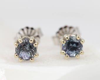 Tanzanite Studs White Gold - Gemstone Studs for Her - Tanzanite Earrings - Tanzanite Gold Studs - Color Change Earrings - Blue Purple Studs
