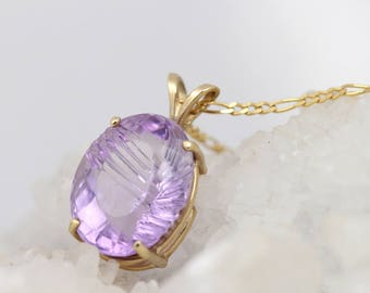 Amethyst Necklace - Fantasy Cut Amethyst Pendant in Yellow Gold - February Birthstone Pendant - February Birthday Gift for Her - Purple Gem
