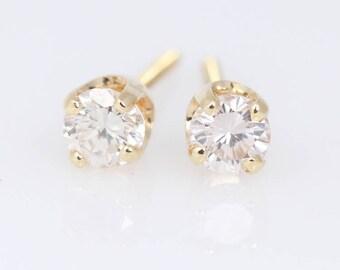 Diamond Studs Yellow Gold - Everyday Diamonds - Diamond Earrings - Screwback Diamond Earrings - Threader Diamond Earrings - Diamonds .34ctw