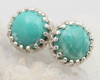 Turquoise Silver Studs - Round Turquoise Earrings - Crown Style Stud Earrings - Fine Turquoise Earrings - Everyday Studs - Gift For Her