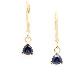 Modern Heirloom Sapphire Earrings - Blue Sapphire in Yellow Gold - Trillion Cut Sapphire Earrings - Sapphire Gold Leverback Dangles