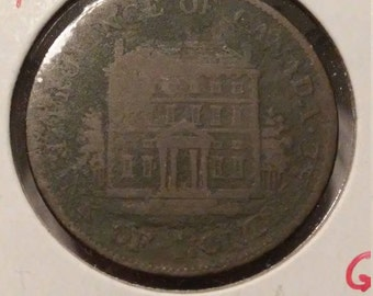 1844 Province Of Canada Bank Of Montreal Half Penny G