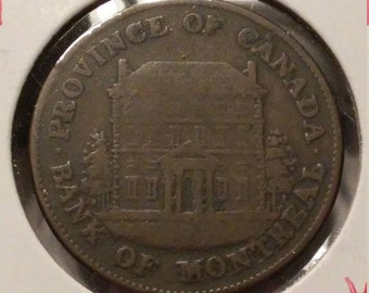 1844 Province Of Canada Bank Of Montreal Half Penny VG
