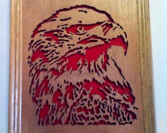 Majestic Bald Eagle scroll saw work in handmade frame
