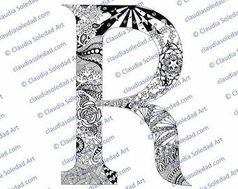 Printable Mandala Letter R Coloring Page