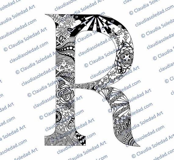 Letra R con Mandalas para colorear imprimible | Etsy