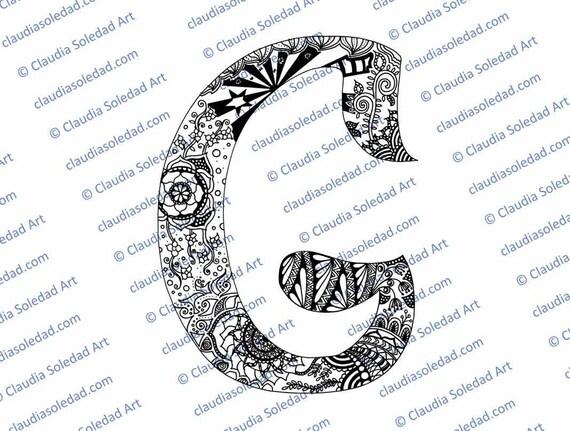Letra G con Mandalas para colorear imprimible | Etsy