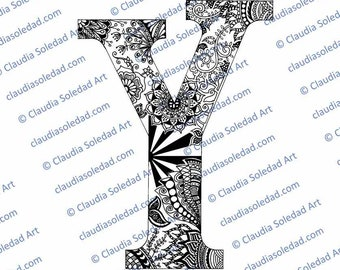 Printable Mandala Letter Y Coloring Page