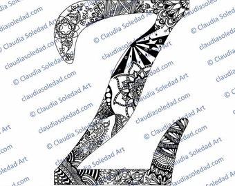 Printable Mandala Letter Z Coloring Page
