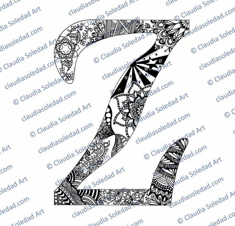 Letra Z Con Mandalas Para Colorear Imprimible