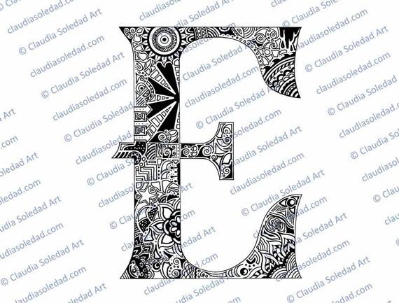 Letra E con Mandalas para colorear imprimible | Etsy