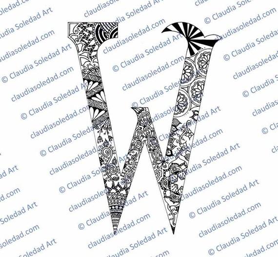 Letra W con Mandalas para colorear imprimible | Etsy