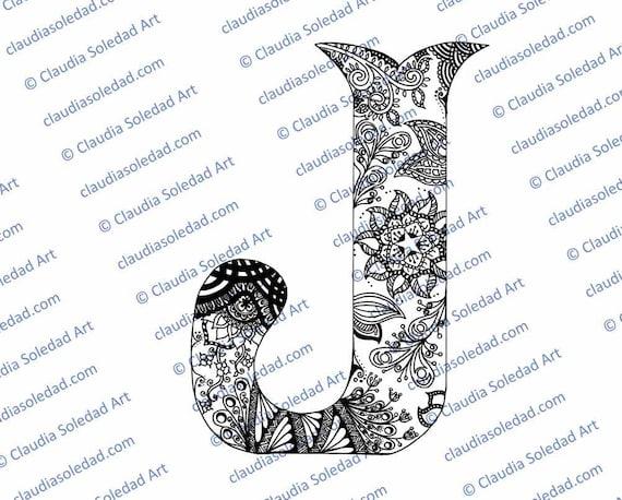 Letra J con Mandalas para colorear imprimible | Etsy