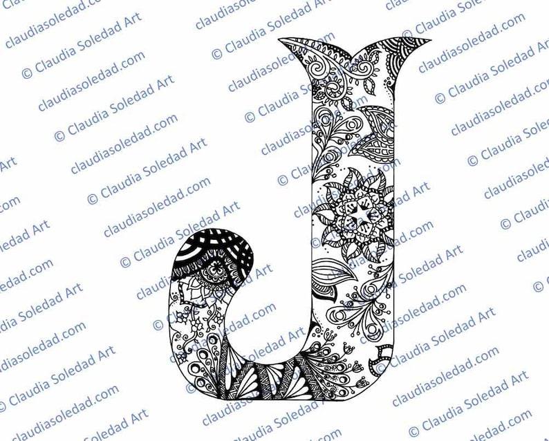 Letra J Con Mandalas Para Colorear Imprimible