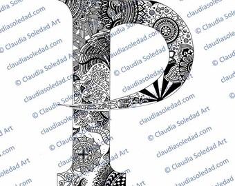 Printable Mandala Letter P Coloring Page