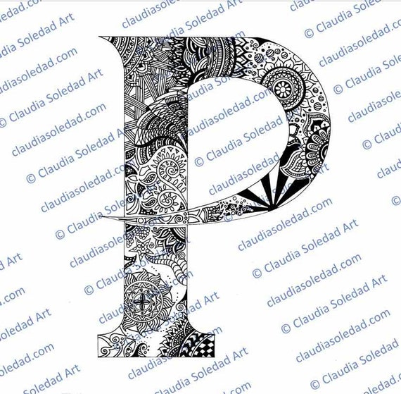 Letra P con Mandalas para colorear imprimible | Etsy