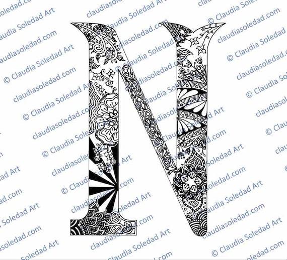 Letra N con Mandalas para colorear imprimible | Etsy