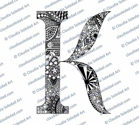Letra K con Mandalas para colorear (imprimible)