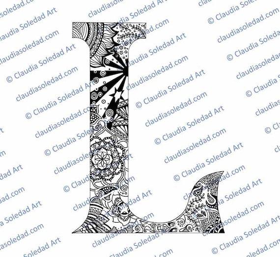 Letra L con Mandalas para colorear imprimible | Etsy