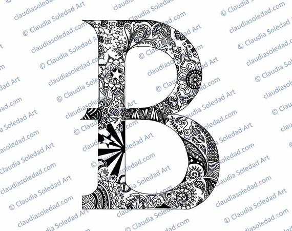 Letra B con Mandalas para colorear imprimible | Etsy