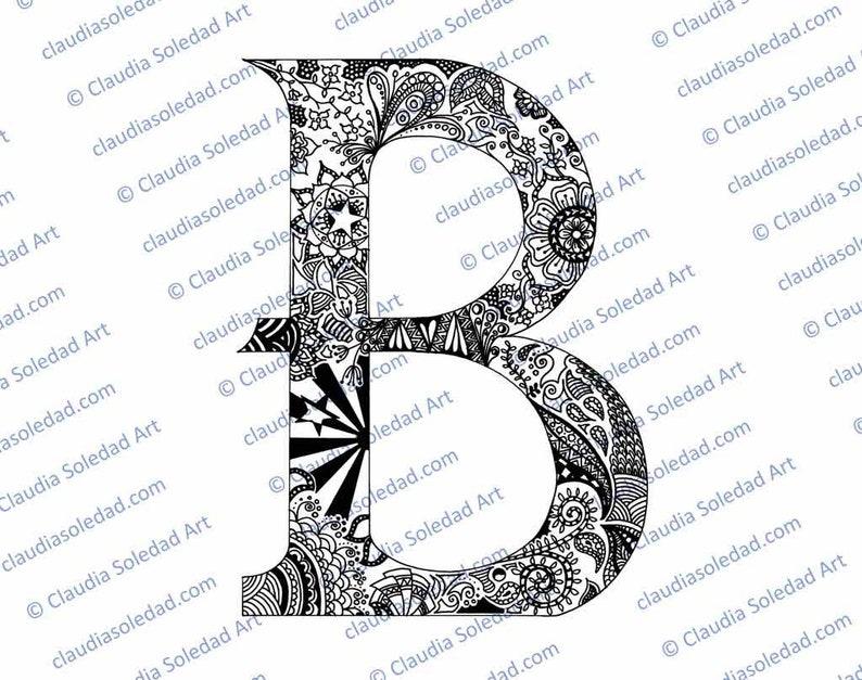 Letra B Con Mandalas Para Colorear Imprimible