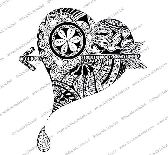 Mandala de Corazón flechado para colorear imprimible | Etsy