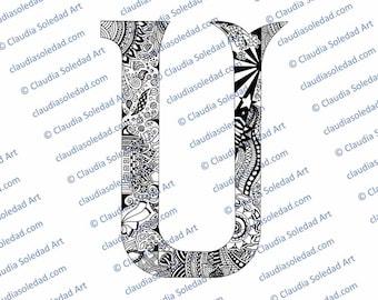Printable Mandala Letter U Coloring Page