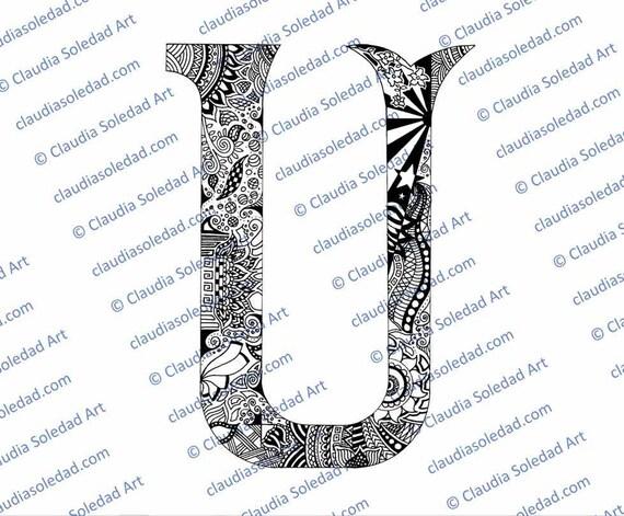Letra U con Mandalas para colorear imprimible | Etsy