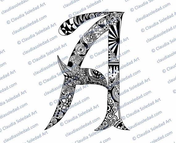 Letra A con Mandalas para colorear imprimible | Etsy