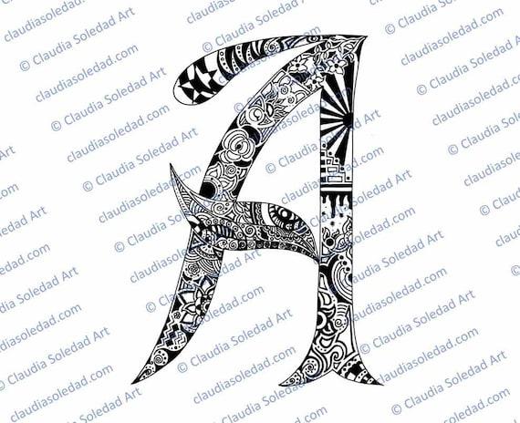 Printable Mandala Letter A Coloring Page