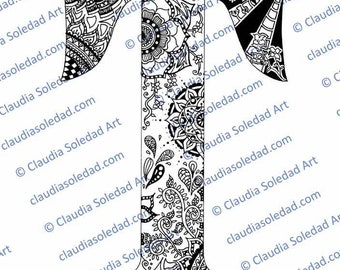 Printable Mandala Letter T Coloring Page