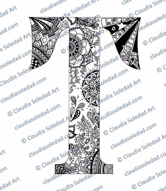Letra T con Mandalas para colorear imprimible | Etsy
