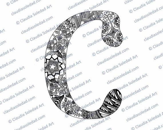 Letra C con Mandalas para colorear imprimible