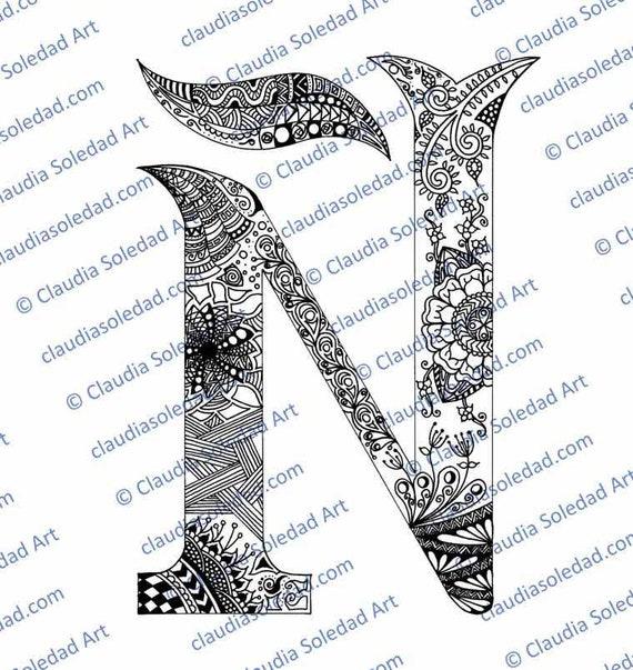 Letra Ñ con Mandalas para colorear imprimible | Etsy