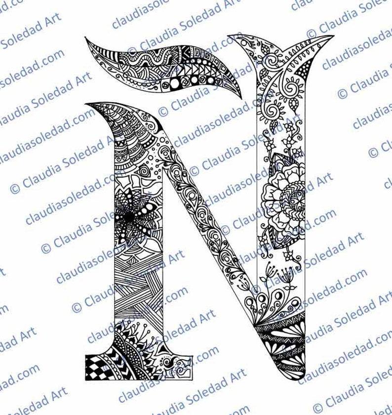 Letra ñ Con Mandalas Para Colorear Imprimible