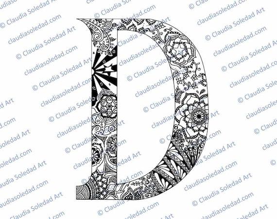 Letra D con Mandalas para colorear imprimible | Etsy