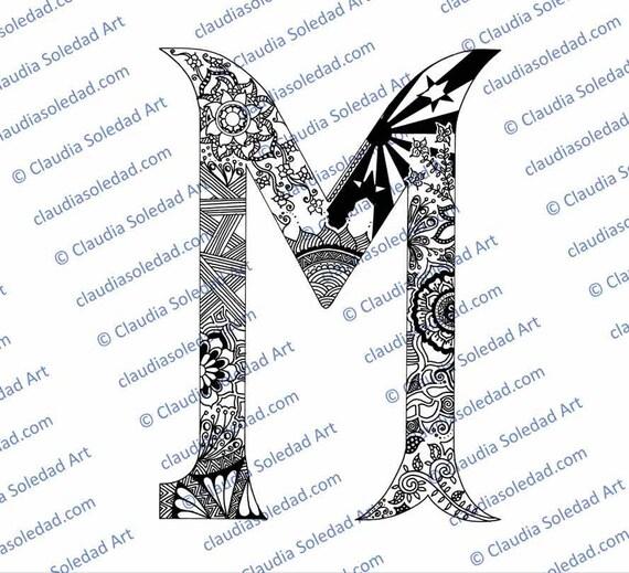 Letra M con Mandalas para colorear imprimible | Etsy