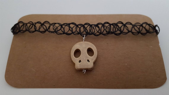 Bronze gold metallic skull charm s stretch tattoo choker