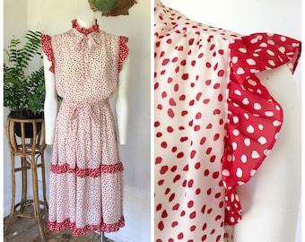 70s red and black polka dot maxi dressnightie boho size 8 size 12 vintage kaftan size 10