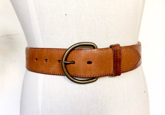 80s wide tan leather belt brown stitched edging wa
