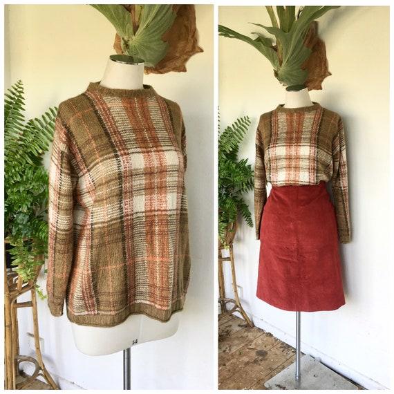 Vintage plaid check mohair wool blend jumper pullo