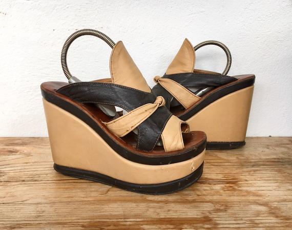 Authentic 70s platform mules two tone brown tan sl