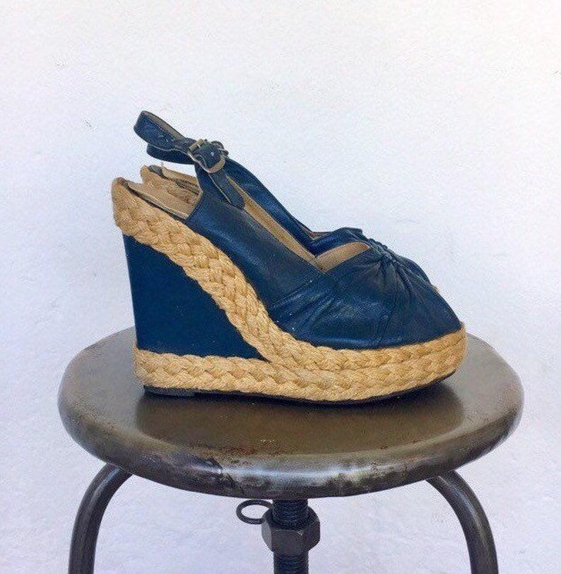 52202838f8f 70s platform espadrilles peep toe sling back sandals shoes navy blue  vintage genuine leather jute wedges hippie Palazzo US / AU 6 EU 37