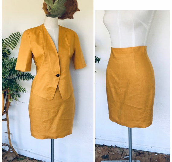 80s yellow linen skirt suit vintage mustard high w