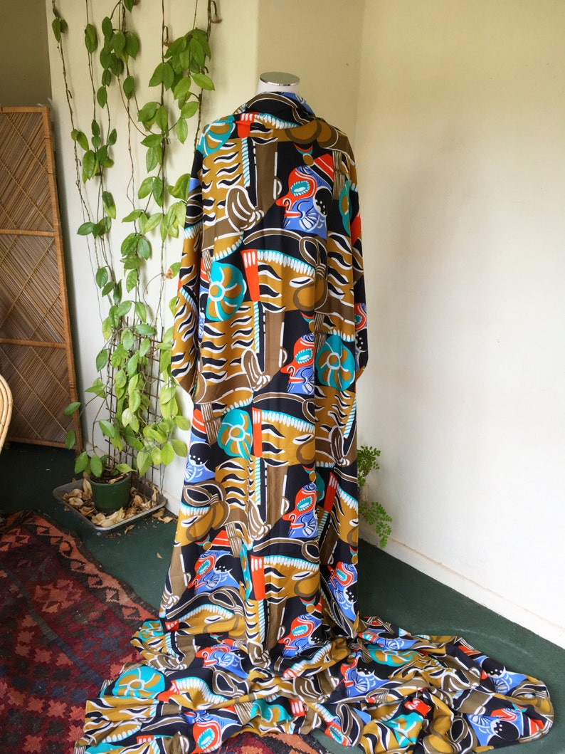 80s uncut fabric abstract tribal fabric length vintage 4.8 yards 442 cm black blue turquoise orange white polyester