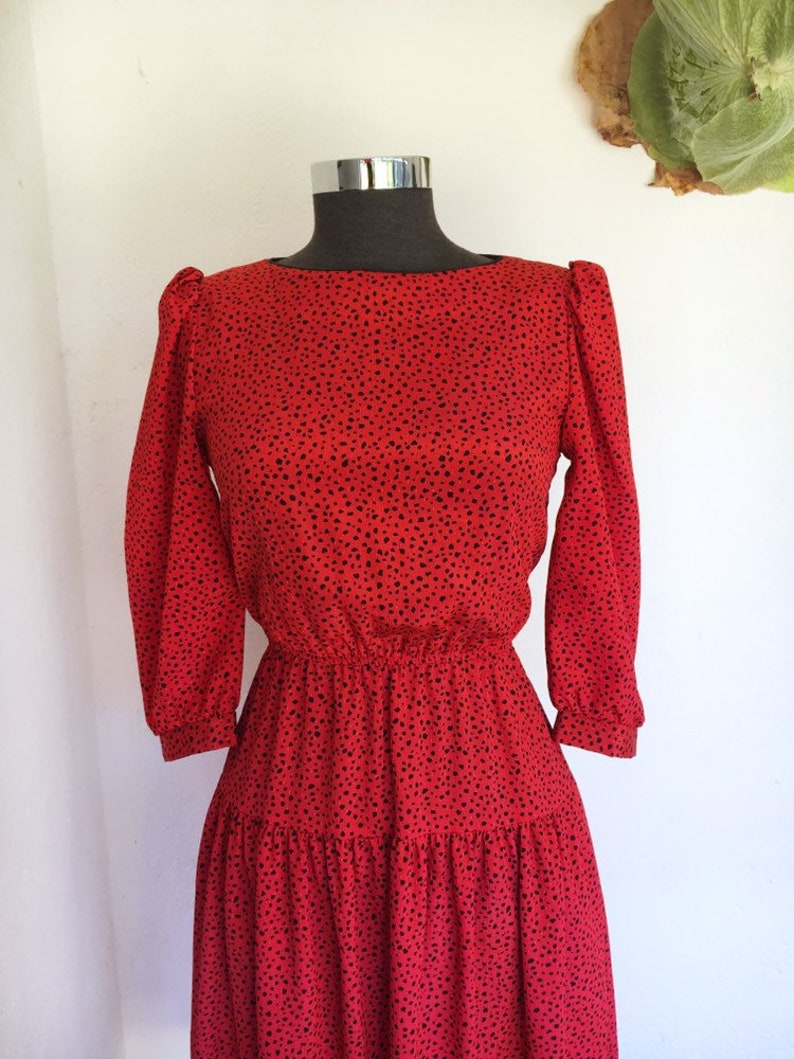 418239956 80s red spotted dress black polka dot leopard print drop waist   Etsy