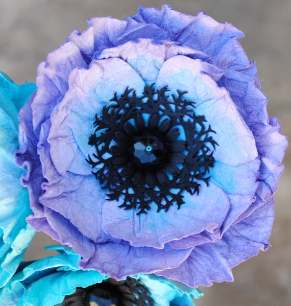 Individual paper poppy stem purple and blue poppies etsy image 0 mightylinksfo