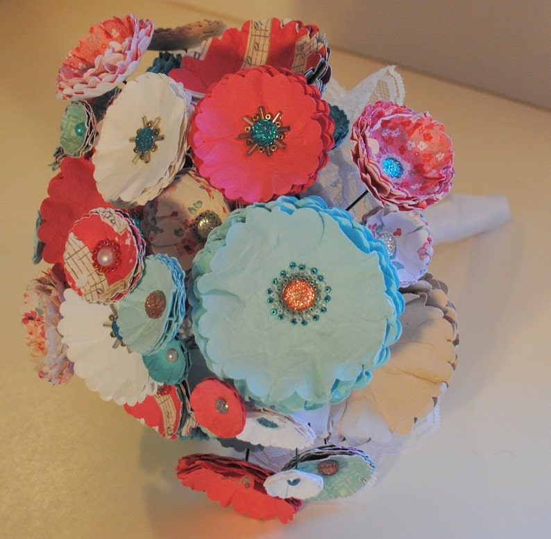 Custom Colors Available Handmade Beaded Bridal Bouquet CoralAqua Paper Wedding Bouquet -Beads and Paper Flowers