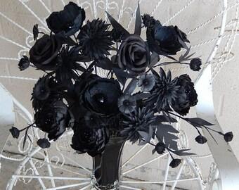 Black Flower Arrangement  -  Monochromatic Paper Flowers- Fantasy Black Paper Flowers - Handmade - Eclectic Decor -Custom Colors Available