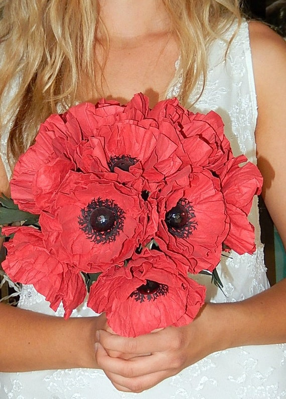 Paper poppy wedding bouquet red poppies wedding poppies etsy image 0 mightylinksfo